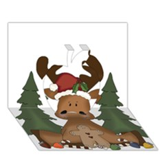 Christmas Moose Apple 3d Greeting Card (7x5)