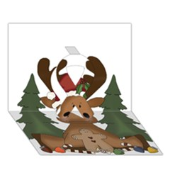 Christmas Moose Ribbon 3D Greeting Card (7x5)