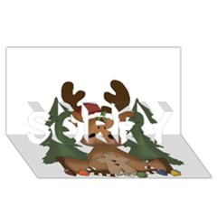 Christmas Moose Sorry 3d Greeting Card (8x4)