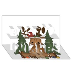 Christmas Moose Best Wish 3d Greeting Card (8x4)