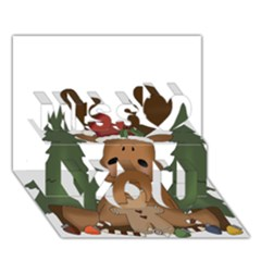 Christmas Moose Miss You 3d Greeting Card (7x5)