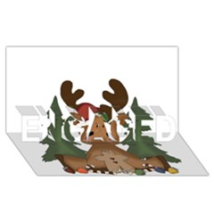 Christmas Moose ENGAGED 3D Greeting Card (8x4)