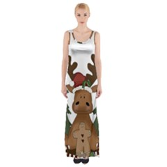 Christmas Moose Maxi Thigh Split Dress