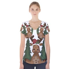 Christmas Moose Short Sleeve Front Detail Top