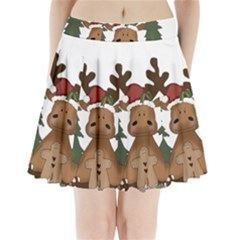 Christmas Moose Pleated Mini Skirt