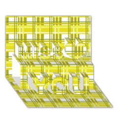 Yellow Plaid Pattern Miss You 3d Greeting Card (7x5)