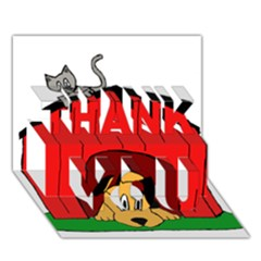 Dog Toy Clip Art Clipart Panda THANK YOU 3D Greeting Card (7x5)