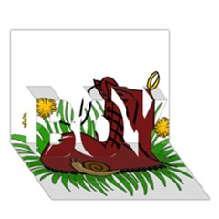 Boot In The Grass Boy 3d Greeting Card (7x5)
