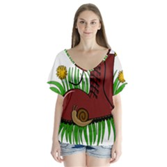 Boot in the grass Flutter Sleeve Top