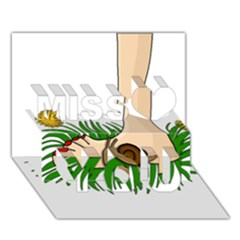 Barefoot in the grass Miss You 3D Greeting Card (7x5)