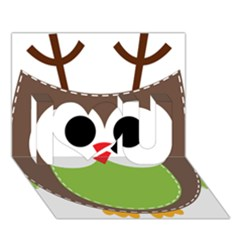 Clip Art Animals Owl I Love You 3d Greeting Card (7x5)
