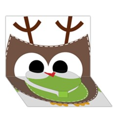 Clip Art Animals Owl Heart Bottom 3d Greeting Card (7x5)