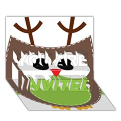 Clip Art Animals Owl You Are Invited 3d Greeting Card (7x5)