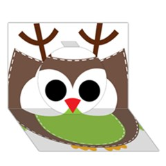 Clip Art Animals Owl Circle 3D Greeting Card (7x5)