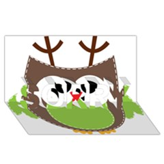 Clip Art Animals Owl Sorry 3d Greeting Card (8x4)