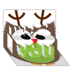 Clip Art Animals Owl Miss You 3D Greeting Card (7x5)