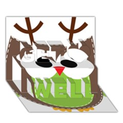 Clip Art Animals Owl Get Well 3d Greeting Card (7x5)