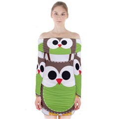 Clip Art Animals Owl Long Sleeve Off Shoulder Dress