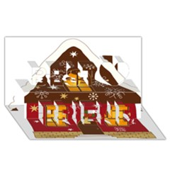 Christmas House Clipart Best Friends 3d Greeting Card (8x4)