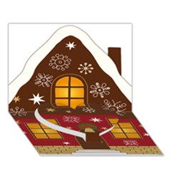 Christmas House Clipart Heart Bottom 3d Greeting Card (7x5)