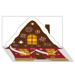 Christmas House Clipart Twin Heart Bottom 3d Greeting Card (8x4)