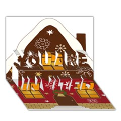 Christmas House Clipart You Are Invited 3d Greeting Card (7x5)