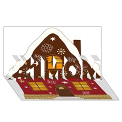 Christmas House Clipart #1 Mom 3d Greeting Cards (8x4)