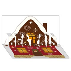 Christmas House Clipart BEST SIS 3D Greeting Card (8x4)