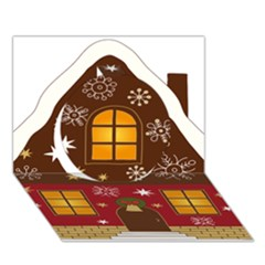 Christmas House Clipart Circle 3D Greeting Card (7x5)