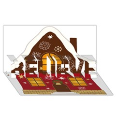Christmas House Clipart Believe 3d Greeting Card (8x4)