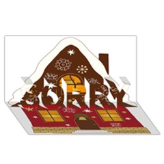 Christmas House Clipart Sorry 3d Greeting Card (8x4)