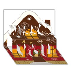 Christmas House Clipart Miss You 3d Greeting Card (7x5)