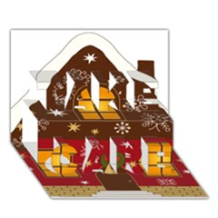 Christmas House Clipart Take Care 3d Greeting Card (7x5)