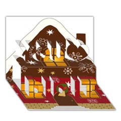 Christmas House Clipart You Did It 3D Greeting Card (7x5)