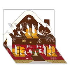 Christmas House Clipart You Rock 3d Greeting Card (7x5)