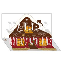 Christmas House Clipart Happy New Year 3D Greeting Card (8x4)