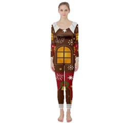 Christmas House Clipart Long Sleeve Catsuit