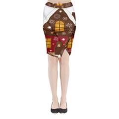 Christmas House Clipart Midi Wrap Pencil Skirt