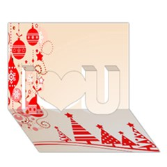 Christmas Clipart Wallpaper I Love You 3d Greeting Card (7x5)