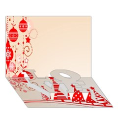 Christmas Clipart Wallpaper Love Bottom 3d Greeting Card (7x5)