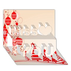 Christmas Clipart Wallpaper Miss You 3D Greeting Card (7x5)