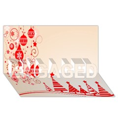 Christmas Clipart Wallpaper ENGAGED 3D Greeting Card (8x4)