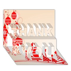 Christmas Clipart Wallpaper Thank You 3d Greeting Card (7x5)