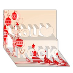 Christmas Clipart Wallpaper You Rock 3d Greeting Card (7x5)