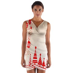 Christmas Clipart Wallpaper Wrap Front Bodycon Dress