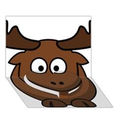 Elk Clip Art Reindeer Raindeer Elk Christmas Xmas Heart Bottom 3d Greeting Card (7x5)