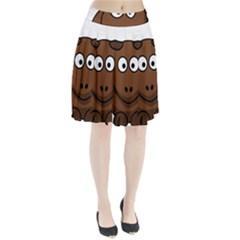 Elk Clip Art Reindeer Raindeer Elk Christmas Xmas Pleated Skirt