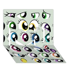 Eyes  Pattern I Love You 3d Greeting Card (7x5)