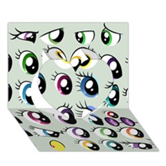 Eyes  Pattern Heart 3D Greeting Card (7x5)