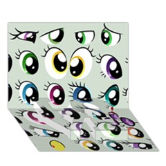 Eyes  Pattern Love Bottom 3d Greeting Card (7x5)
